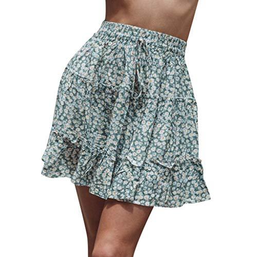 Zlolia Women's Polka Dot Pleated Short Skirt Ruffled Lace-Up A-Line Short Dress - Rose 30 Tweed