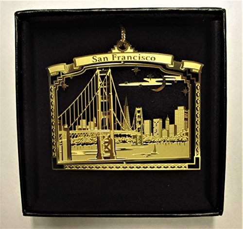 San Francisco at Night Brass Ornament City Skyline