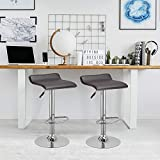 WATERJOY Bar Stools, Set of 2 Swivel Bar Dining Chair, Adjustable PU Leather Backless Breakfast Stools Chair,Coffee