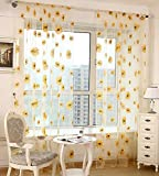ASide BSide Sunflowers Pattern Printed Sheer Curtains Transparent Voile Rod Pockets Chic Window Decoration For Living Room Dining Room and Bedroom (1 Panel, W52 x L104 inch, Yellow)