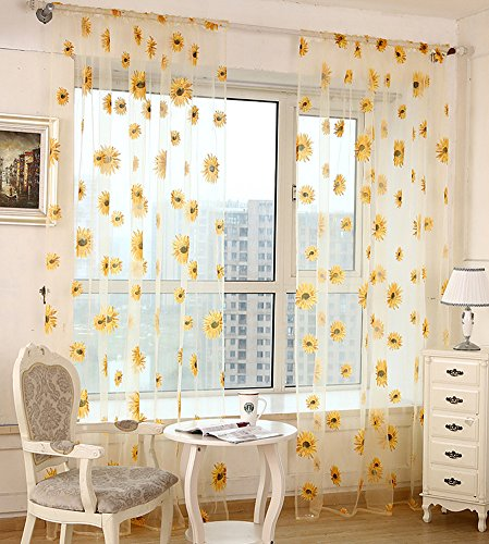ASide BSide Sunflowers Pattern Printed Sheer Curtains Transparent Voile Rod Pockets Chic Window Decoration For Living Room Dining Room and Bedroom (1 Panel, W52 x L104 inch, Yellow) by ASide BSide