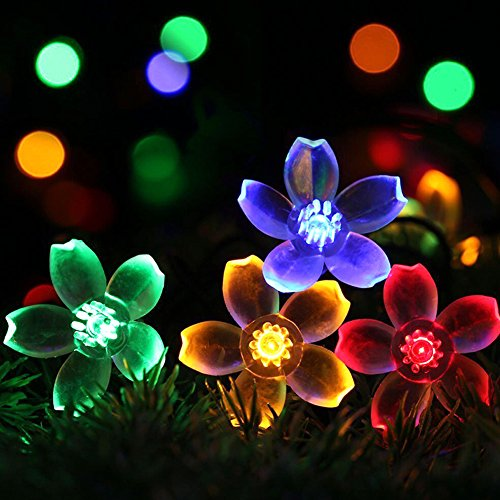 SEMILITS Solar Powered String Lights Outdoor Waterproof 50LED Peach Blossom Xmas Decorations for Garden Patio Multi Color ()