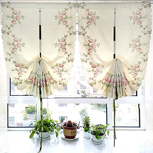 1 Panel Beige European Fan-shaped Roman Shade Blind Floral Embroidered With Gold Thread Velvet Hemp Curtain Valance Liftable Tie Up Balloon Curtain Cafe Curtain Rod Pocket Window Treatment Drapes