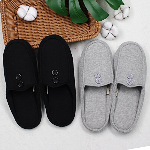 Cozy Toe Anti Men's Buttons Closed Foam Ofoot Grey amp; Cotton Slippers slip Design Women's with Indoor Memory TqpxnCnW