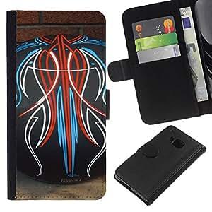 EJOY---La carpeta del tirón la caja de cuero de alta calidad de la PU Caso protector / HTC One M9 / --Bowling Tatuajes Modelo abstracto ladrillo