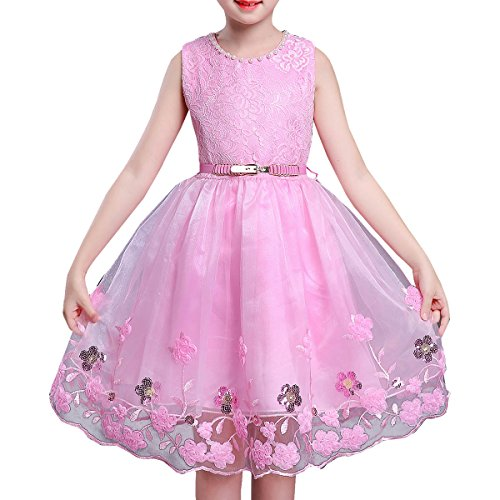 (BANGBO LEATHER Elegant Party Dress Flower Girl Dress Sleeveless Princess Dress with Belt for Girls 4-12 Years Old (10-11 Year,)