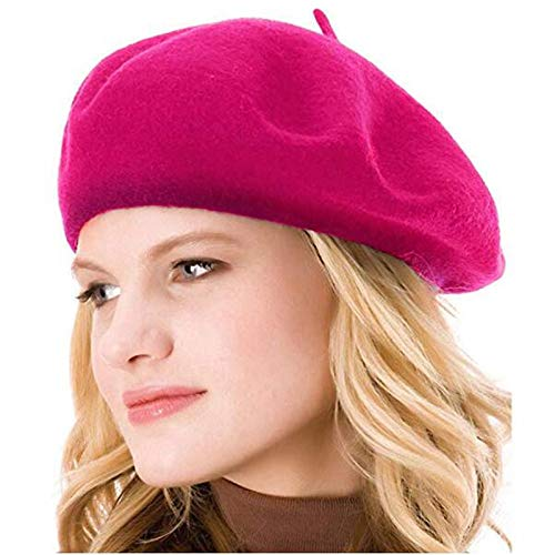 Pink Womens Beret - Kimming Womens Beret 100% Wool French Beret Solid Color Beanie Cap Hat Hot Pink