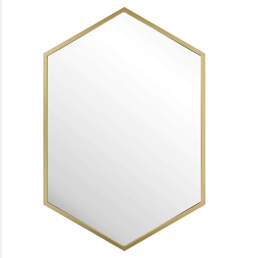 50x70cm Best Choice Products Modern Hexagon Wall Mirror Metal Frame Mirror for Bedroom Living Room Bathroom Vanity Home Decor,Champagne gold