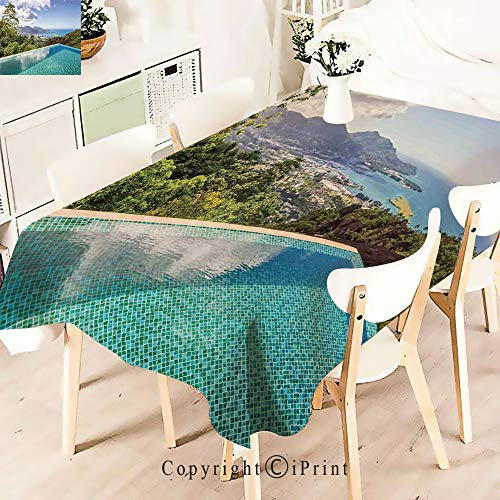Premium Polyester Printed Tablecloth,View of Islands Seychelles from Crystal, Idle for Grand Events and Regular Home Use, Machine Washable,W55 xL55,