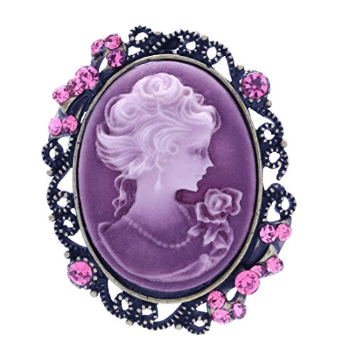 Cameo Pin Pendant Jewelry Necklace - Soulbreezecollection Light Pink Cameo Brooch Pin Charm Necklace Pendant Compatible