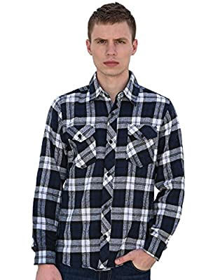 uxcell Men Plaids Flannel Shirt w Flap Pockets