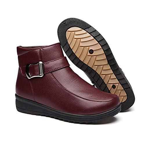Mujeres Botas Botas YXLONG Cuero red Invierno Algodón De De Nuevas Zapatos Mujer Cálidas De Zapatos Algodón De De De Temporada Anti Madre wACaOAqnx