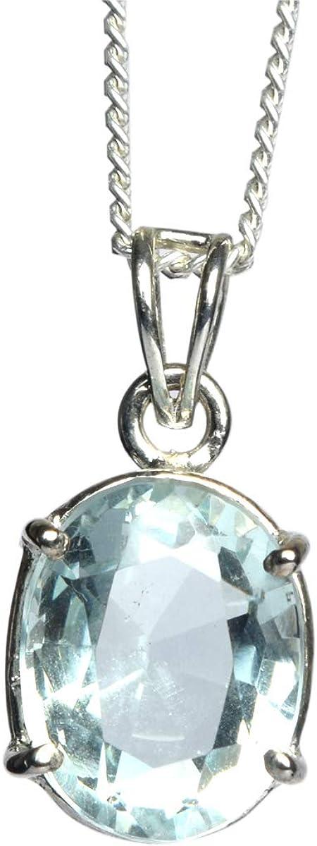 Colgante de aguamarina azul hecho a mano 27.50 Ct Colgante de plata esterlina azul aguamarina talla oval para regalo de la joyería