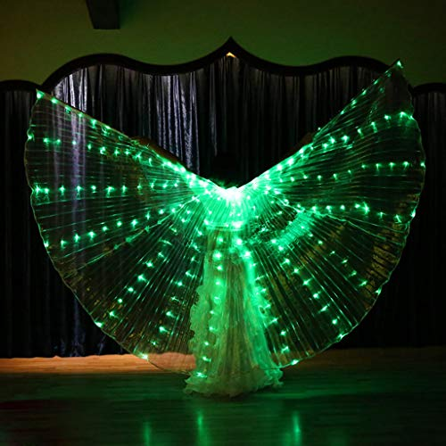 CapsA Girls Wings Glow Light Up Belly Dance Costumes with Telescopic Stick LED Wings Glowing Performance Clothing for Carnival Stage Halloween Christmas Party (Green) -