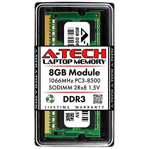 A-Tech 8GB DDR3 1066MHz PC3-8500 Laptop RAM SODIMM Module | 2Rx8 1.5V Non-ECC Unbuffered 204-Pin Memory Upgrade Stick