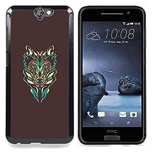 - Brown Wolf Abstract Art Teal Native/ Duro Snap en el tel????fono celular de la cubierta - Cao - For HTC ONE A9
