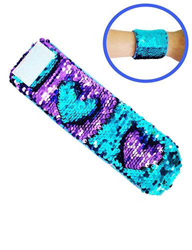 KINGGRID Sequins Bracelet Mermaid Bracelet Wristband Magic Charm for Birthday Party (Blue and Purple)