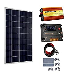 ECO-WORTHY 100 Watt 12V Solar Panels Kit + 20A Charge Controller + 1000W Power Inverter for Off-Grid 12 Volt Battery System