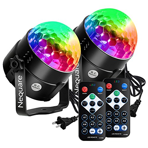 [Latest 6 Light Bulbs] Party Lights Disco Ball Strobe Light Disco Lights 20 Colors Sound Activated Stage Light with Remote Control for Kids, Festival Celebration Birthday Xmas Wedding Bar Club Party ()