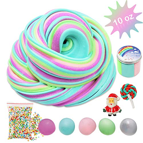 Colorful Fluffy Floam Slime with Foam Beads, DIY 10 oz Jumbo Fluffy Slime Kit Easy Bubble Slime with Container, Soft Clay Scented Slime Non Sticky Sludge Party Toy Favor Birthday Ideas for Boys Girls ()