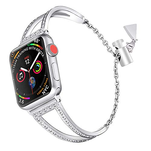 Elobeth Dress Jewelry Bracelet Compatible with Apple Watch Band 38mm 40mm Crystal Rhinestone Strap Replacement for iWatch 40mm Series - Watch Tech Dual Dress