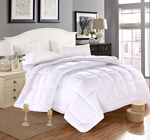 Duvet Insert Luxury Down Alternative Quilted Reversible Comforter/Bedspread Fluffy w/Plush Polyester Fill Medium Weight 6.75lb Box Stitched Design All Season-250 gsm-White RV King 88 by 102 inch