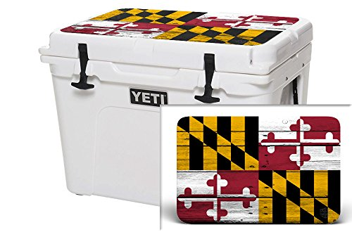 USA Tuff Thickest & Toughest Wrap 24Mil Cooler Accessories Decal for YETI 45QT Tundra Lid Kit -Maryland Flag Wood