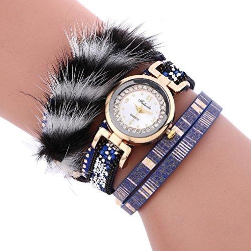 Hunputa Stylish Crystal Multi Layers Magnetic Buckle Fine Leather Bracelet Faux Hair Rivet Bling Stones Diamond Lady Womens Wrist Watch Gift (Blue)