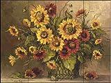 Ceramic Tile Mural - Sunflower Bouquet - by Barbara Mock - Kitchen backsplash / Bathroom shower