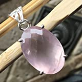 Natural 14ct Pink Rose Quartz 925 Solid Sterling Silver Stunning Rose Cut Pendant 30mm