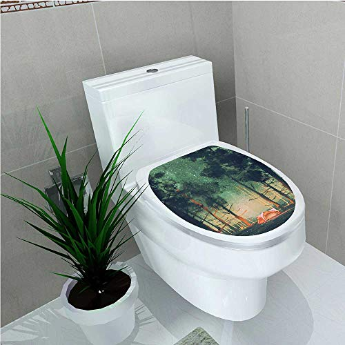 aolankaili Decal Wall Art Decor House Decor Camping in Forest at Night with Stars Fireflies Magical Nature Scene W13 x L18 -