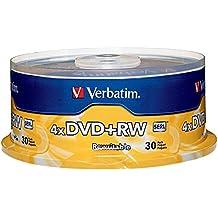 Verbatim DVD+RW 4.7GB 4X Rewritable Media Disc - 30 Pack Spindle