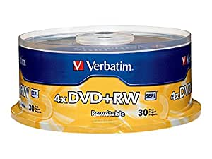 Verbatim DVD+RW 4.7GB 4X Rewritable Media Disc - 30pk Spindle