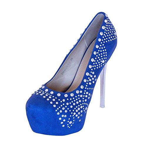 up 9 UK Dreams Glamour Blue Sizes Heels Platform Shoe Beautiful Designer 3 with to Velvet Rinestones UK BZaCxq