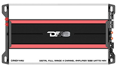 DS18 CANDY-X4W Amplifier in Black - Class D, 4 Channels, 1600 Watts Max, Digital, 2/4 Ohm - Dont Sacrifice Space for Power - Compact Mini Ampflier for Speakers in Car Audio System