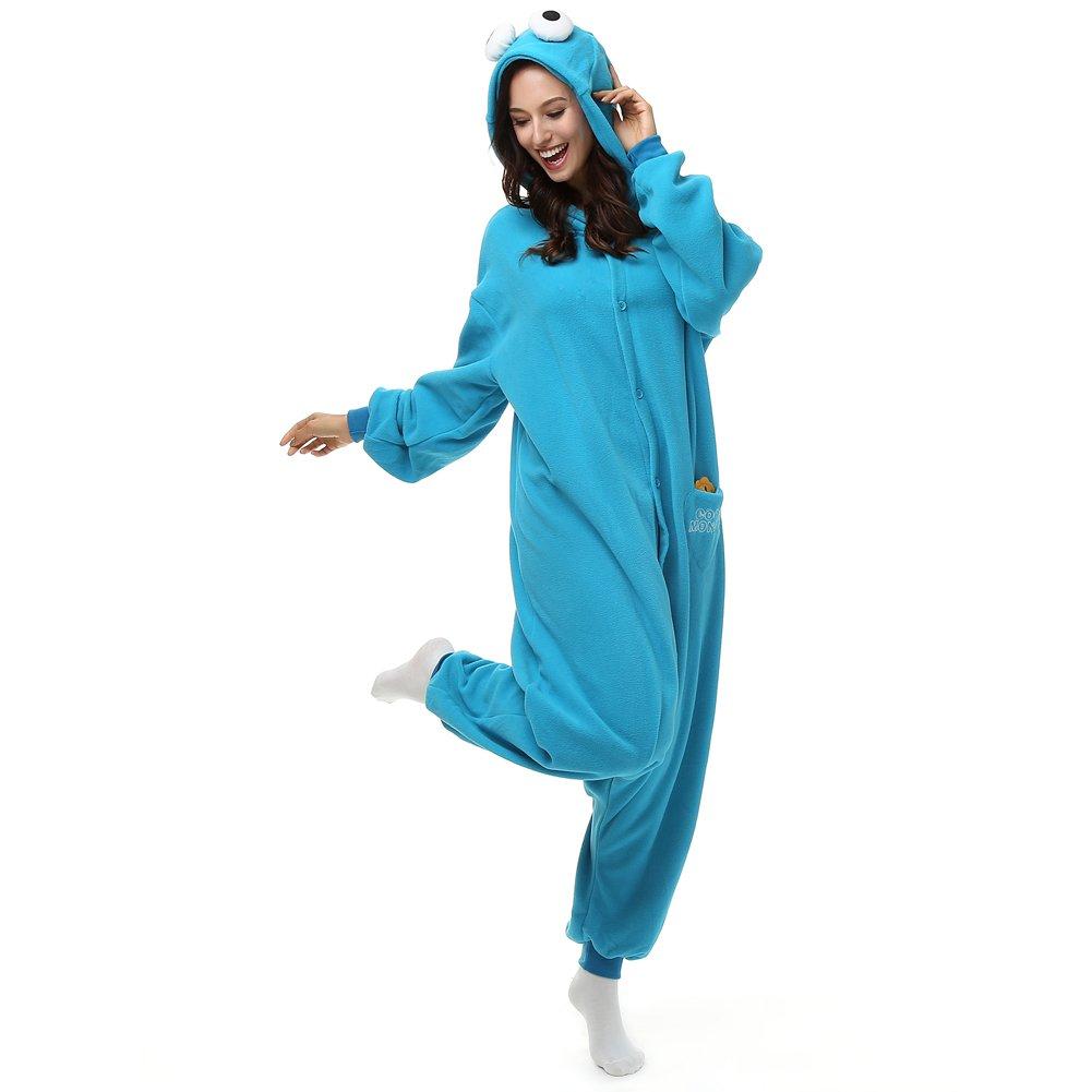 5d54cdfb22 Amazon.com  Adult Cookie Monster Onesie Fleece Cartoon Sleepwear Pajamas  Cosplay Costume Unisex  Clothing