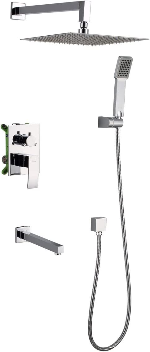 Gappo Luxury Rain Mixer Shower System Kit With Wall Mounted Rainfall Shower Head And Tub Spout Tap Polished Chrome