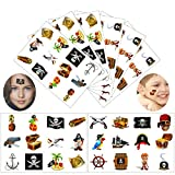 tattoos removable pirates - Konsait Pirate Tattoo(96PCS), Pirate Temporary Tattoo Fake Neverland Pirated Cannon Powder Wheel Jake Captain Tattoo Body Sticker for Pirate Birthday Party Favors Supplies for Kids Boys Girls