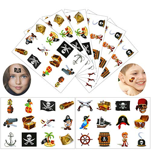 Konsait Pirate Tattoo(96PCS), Pirate Temporary Tattoo Fake Neverland Pirated Cannon Powder Wheel Jake Captain Tattoo Body Sticker for Pirate Birthday Party Favors Supplies for Kids Boys Girls