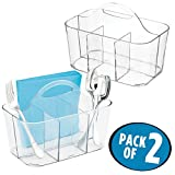 mDesign Plastic Cutlery Storage Organizer Caddy Bin - Tote with Handle - Kitchen Cabinet or Pantry - Basket Organizer for Forks, Knives, Spoons, Napkins - Indoor or Outdoor Use - 2 Pack, Clear