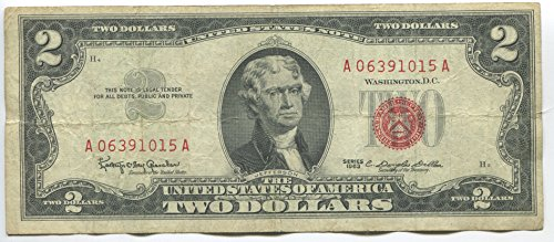1963 Red Seal $2 Dollar Bill Old Currency Note