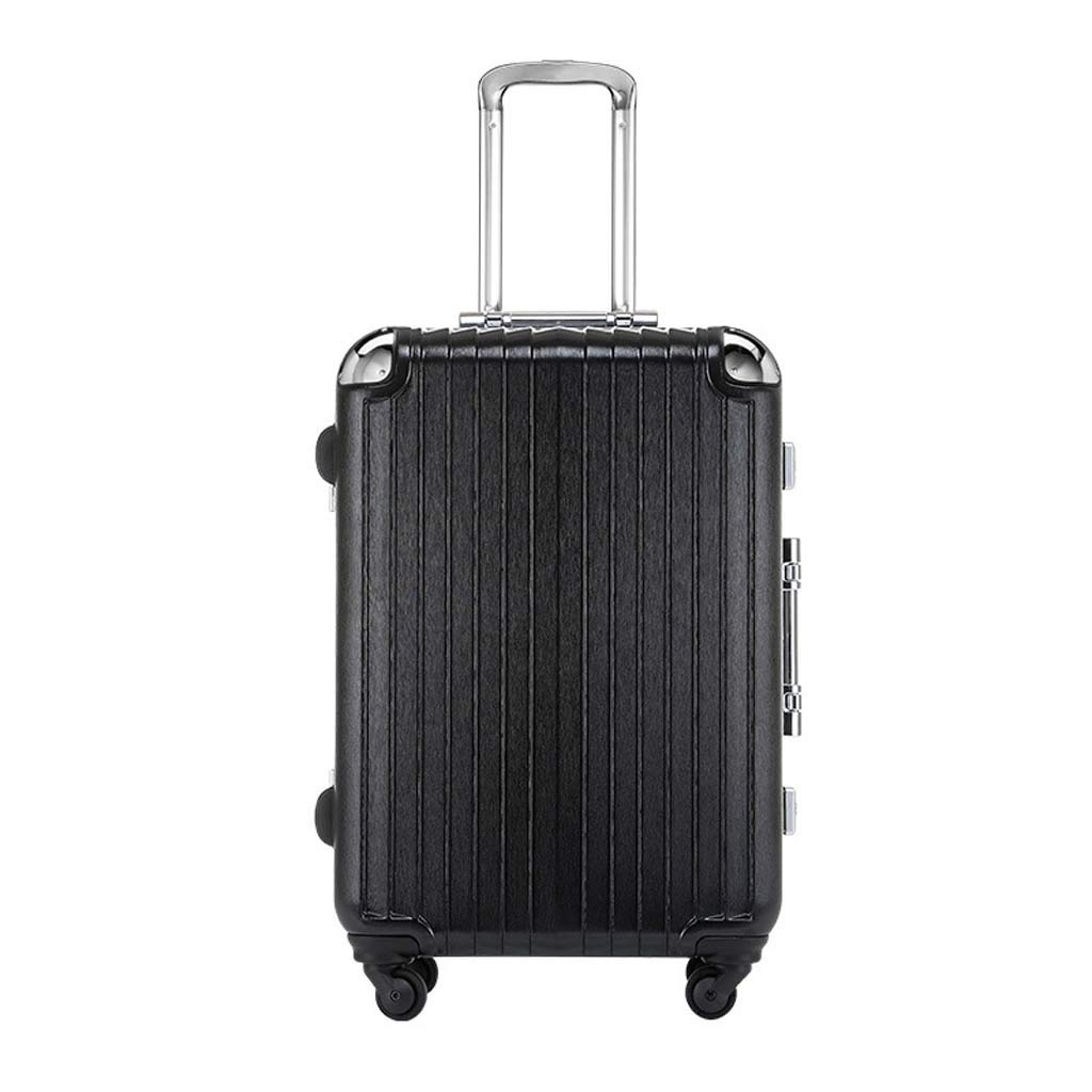 CLOUD Luggage Sets Travel Suitcase Male and Female Lightweight Aluminum Alloy Air Carrier Trolley Case Lock 4 Wheels Color : Black, Size : 26 inches