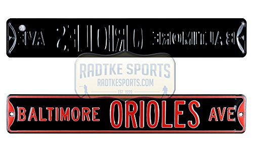 Baltimore Orioles Avenue Officially Licensed Authentic Steel 36x6 Orange & Black MLB Street Sign