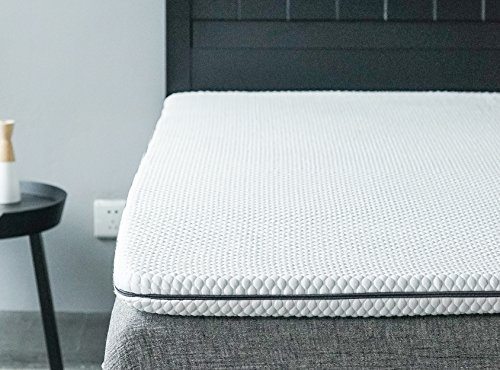Allrange 2-Inch Ultra Soft Cooling gel Memory Foam Mattress Topper, Knit Modal Blend Fabric, Removable Cover, Hypoallergenic, Rolled Package, Queen Size