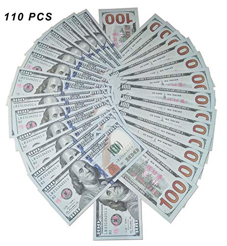 Xmon Joy Prop Money Movie Money Play Money $100 Bills Double Sided Full Print Real Looking Motion Picture Money 110PCS Copy Money for Movie Party Video