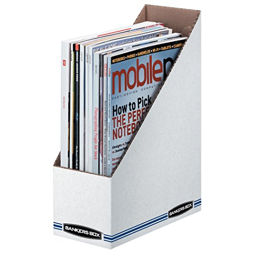 Fellowes Corrugated Box - Bankers Box 10723 Corrugated Cardboard Magazine File, 4 x 9 1/4 x 11 3/4, White (Case of 12)