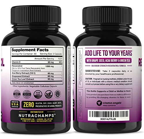 5114 6ERYUL - Resveratrol Supplement 1200mg - Extra Strength Formula for Maximum Anti Aging, Immune & Heart Health - 60 Vegan Capsules with Trans-Resveratrol, Green Tea Leaf, Acai Berry & Grape Seed Extract
