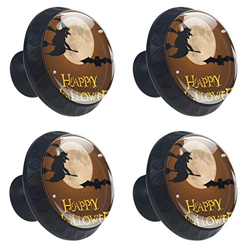 Anmarco Happy Halloween Full Moon Pumpkin Drawer Knobs Pull Handles 30MM 4 Pcs Glass Cabinet Drawer Pulls for Home Kitchen Cupboard ()