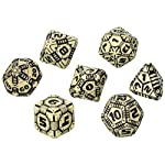 Q WORKSHOP QWOTEC18 Qworkshop 7 Piece Tech Dice Set, Beige and Black, Multi-Color 6