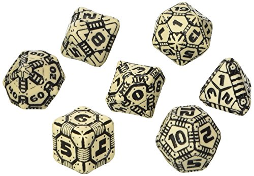 Q WORKSHOP QWOTEC18 Qworkshop 7 Piece Tech Dice Set, Beige and Black, Multi-Color 3